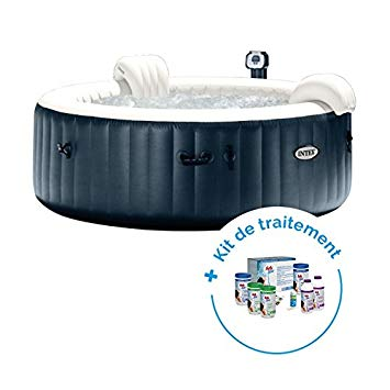 RAVIDAY Pack Spa Gonflable Intex Pure Spa Plus Bulles 4 Personnes + Kit de  Traitement au