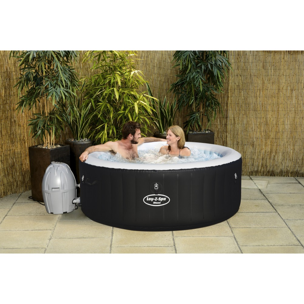 Spa gonflable 2/4 places - Lay-z-Spa Rond - Miami Air Jet + Accessoires  BESTWAY