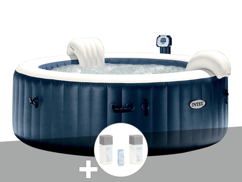 Kit spa gonflable intex purespa rond bulles 6 places bleu nuit + led + kit  traitement brome