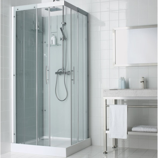 Cabine de douche carré 90x90 cm, Thalaglass 2 thermo
