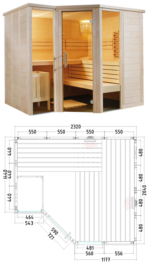 Sauna combiné traditionnel + IR