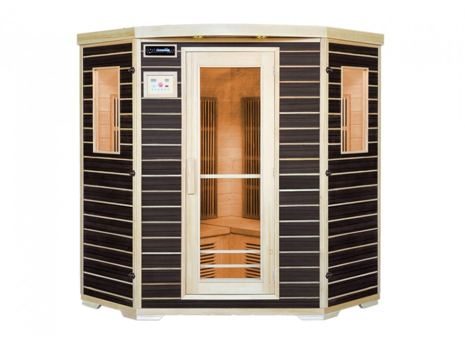 Sauna Vente Unique - Sauna Infrarouge 3-4 places Wengué Gamme Carbone  BLACKSPIRIT