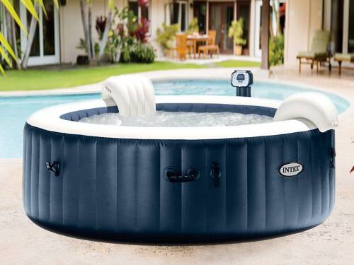 Spa gonflable PureSpa rond Bulles 4 places Bleu nuit + Led - Intex