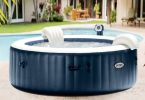 ... Spa gonflable PureSpa rond Bulles 4 places Bleu nuit + Led - Intex